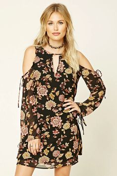 Forever 21 Contemporary - A woven swing dress featuring a floral print, open-shoulder design, long sleeves, keyhole front, round neckline, and a concealed back zipper.