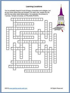 You'll find lots of fun, free crossword puzzle games here. Find out how much you know about college locations on this page! Spelling Practice, Vocabulary Practice, Spelling Words, Printable Word Games, Fill In Puzzles, Crossword Puzzle Games, Le Words, Xavier University, Dartmouth College