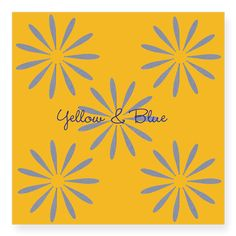 Custom Bright Yellow Blue Textured Floral Sticker, editable text, for personalized gifts, decor, water resistant.