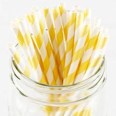 Striped Paper Straws - Yellow