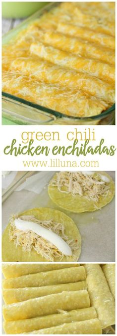 Las Palmas Chicken Enchiladas - such an easy and delicious recipe! Includes shredded chicken, green chili, sour cream, and cheese all wrapped up in a tortilla! SO YUMMY!