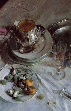 Giovanni Boldini: Detail of Corner of the Artists Table, 1874, oil.