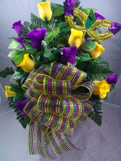 Mardi Gras Purple Green and Gold Cemetery Flower by Crazyboutdeco, $35.99