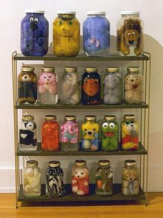 When you get too old for your stuffed animals just preserve them for a creepy awesome Halloween decoration! (Use up old pickle jars!)