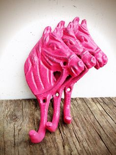 BOLD set of three little horse wall hooks // bubblegum hot pink cast iron // key towel hook // nursery country cottage by BOLDHOUSE on Etsy https://www.etsy.com/listing/185021541/bold-set-of-three-little-horse-wall