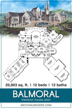 Balmoral: Mansion house plan reminiscent of castles across Europe Imagine centuries ago in Old Europe, Kings and Queens lived in the unprecedented splendor and security. Castle Floor Plan, Castle House Plans, House Plans Mansion, Dream House Plans, Modern Castle House, Luxury Floor Plans, Luxury House Plans, Modern House Plans, Luxury Houses