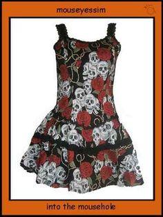 Living Dead Souls Rose & Skull tattoo dress @ mouseyessim