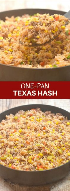 One-Pan Texas Hash with fluffy rice, seasoned ground beef, tomatoes, and spices is your ultimate Fall comfort food. This rice casserole is hearty, delicious and cooks in one pan!