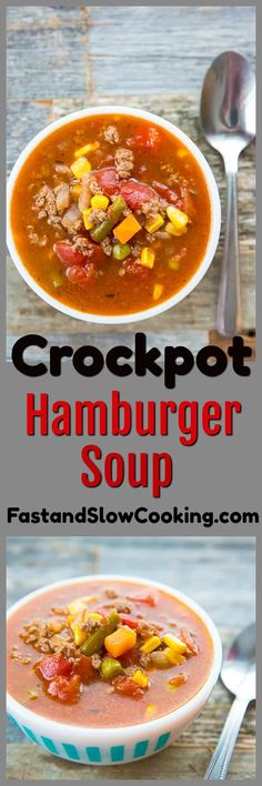 Crockpot Hamburger Soup - Fast and Slow Cooking Crockpot hamburger soup. This soup is made at least once a week in our house, it's easy and so delicious! Supper Recipes, Easy Soup Recipes, Meat Recipes, Slow Cooker Recipes, Crockpot Recipes, Cooking Recipes, Slow Cooking, Frugal Recipes, Hamburgers