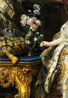 Charles-André van Loo: Portrait of Marie Leszczyńska, Queen of France, 1747. (detail), High resolution detail. Co...
