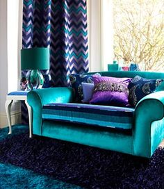 Home Decoration Ideas For Engagement The analogous design of this space uses such a large proportion of cool colors that the light coming into the space appears very warm. Room Color Schemes, Room Colors, House Colors, Peacock Room, Peacock Decor, Peacock Colors, Living Room Decor Purple, Bedroom Decor, Peacock Living Room