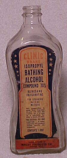 c1930s Clinic Brand Isopropyl Bathing Alcohol Compound Macey Co. Boston, Mass., Labeled Medicine Bottle