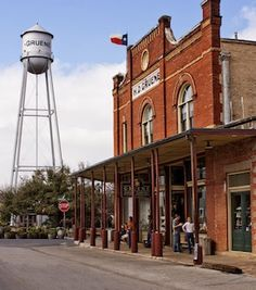 One of the many Gruene symbols, the water tower. Gruene, Texas in the Texas Hill Country.