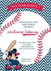 Baseball All Star Event Mickey Mouse Baby Shower Invitation