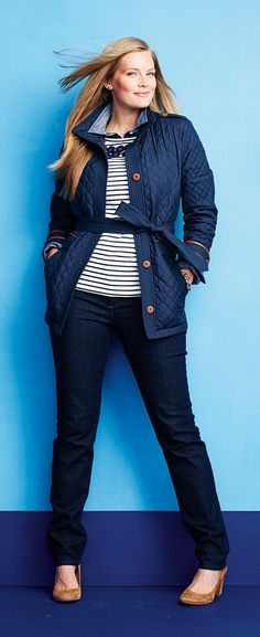 Classic jeans for curvy women | Jeans, heels, striped embroidered top layered with chambray and belted jacket. Just the right amount of layering from Lands' End.