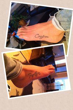 My kids' names tattooed on my feet.
