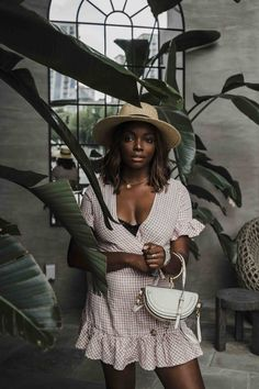 Falling Forward to Fashion Month Latest Fashion For Women, Womens Fashion, Boater Hat, Moon River, Gingham Dress, Lifestyle Photography, Summer Looks, Spring Summer Fashion, Wrap Dress