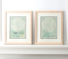A dynamite pair of framed world atlas maps from The Century Atlas of the World, published in New York c. 1902. Each of the blond frames measures