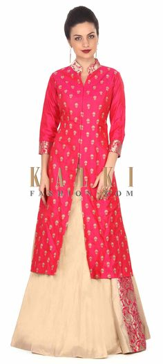 Buy this Beige and rani pink lehenga adorn in zari embroidered butti only on Kalki