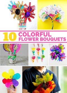 10 Colorful Flower Bouquets Kids Can Make. These beautiful flower crafts make great gifts for Mother's Day or Teachers Appreciation!