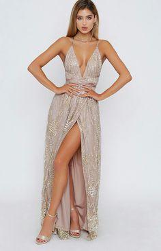 2019 V neck Prom Dress ,long prom dress with slit - Prom Dresses V Neck Prom Dresses, Grad Dresses, Ball Dresses, Dance Dresses, Homecoming Dresses, Evening Dresses, Dress Prom, Neutral Prom Dresses, Casual Dresses