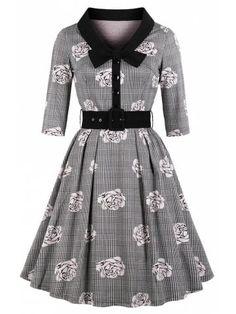 Épaule Libre Retro Rockabilly années 50er Pin Up Vintage Robe Coton