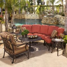 Augustine - Deep Seating from Family Leisure set that matches our outdoor dining table Cast Aluminum Patio Furniture, Outdoor Furniture Sets, Furniture Ideas, Outdoor Spaces, Outdoor Living, Outdoor Decor, Backyard Patio, Family Leisure, Deep