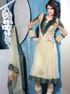 #Beige Readymade #Anarkali Net #Churidar #Kameez  Itemcode: SLKDU118  Price:  $126.89  #Shop Now @ http://origin.utsavfashion.com/salwar/beige-readymade-flare-net-churidar-kameez-with-dupatta/slkdu118-itemcode