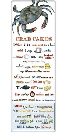Crab Cakes Recipe 100% Cotton Flour Sack Dish Towel Tea Towel
