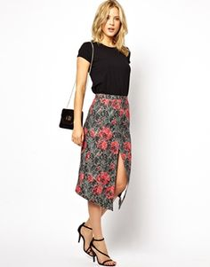 e23072f40b asos jacquard pencil with centre split | reg $75, sale $30 Asos Skirts,  Going