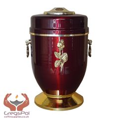 Beautiful Red Metal Cremation Urn for Ashes with Rose Adult Cremation Urn (UMD7)