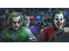 Jack Nicholson, Heath Ledger, Jared Leto and Joaquin Phoenix as the Joker Joker Comic, O Joker, Joker Und Harley Quinn, Heath Ledger Joker, Joker Art, Heath Ledger Tattoo, Joker Images, Joker Pics, Joaquin Phoenix