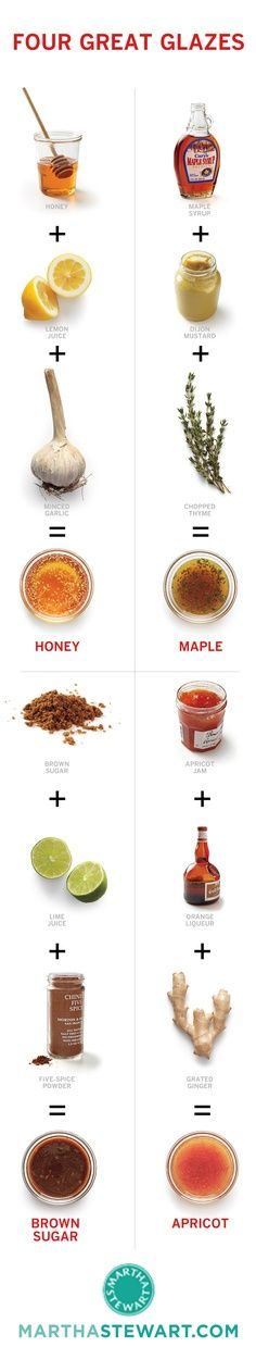 4 Great Glazes by marthastewart #Infographic #Glazes
