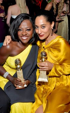 Viola Davis & Tracee Ellis Ross from Golden Globes 2017 Party Pics  The Fences and Black-ish actresses clutched their golden statues at the InStyle and Warner Bros. after-party.