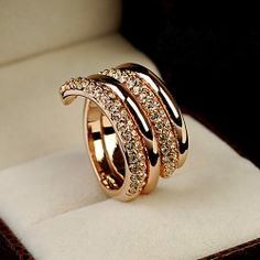 New Unique Design Crystal Alloy With 18K Rose Gold Plated Women's Stack Ring
