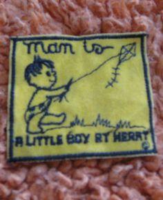 Man Is A Little Boy By Heart vintage patch  sewon by crazicandi, $3.00