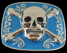 SKULL CROSSBONE UNISEX WOMEN MEN'S BIG BELT BUCKLE BELTS BUCKLES #skull #skullhead #crossbones #beltbuckle