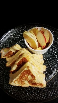 Breakfast! Toasted Cheese French toast style fresh fruit served with a herbal tea!