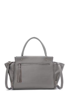 Margaret Double Zipped Tote In Grey