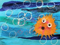 Mixed media puffer fish... Make our puffer fish 3d ( 2 pcs of brown craft paper, stuffed with newspaper).