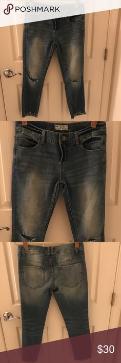 Free People Jeans Faded, distressed Free People jeans with a raw hem. Great pants, don't need them. Sz 27! Free People Jeans Ankle & Cropped