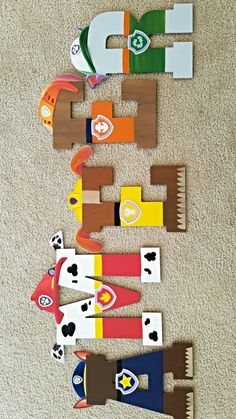paw patrol themed wooden letters
