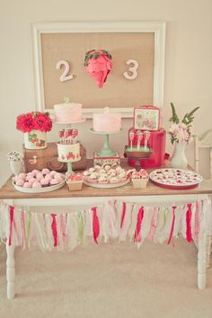 vintage strawberry party -- love the idea of having strawberry candles burning so the house smells like strawberries!