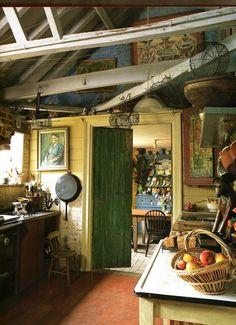 Rustic kitchen and dining room.