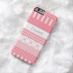 A girly pink Japanese washi tape style slim #iPhone6case with trendy patterns including chevrons, polka dots, stripes and houndstooth. This cute and stylish design can be personalized by adding the name of your teen girl. Flat digital printed image, not textured.