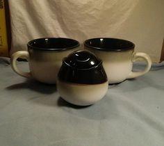 2 GrandMugs & a  Covered Sugar Bowl Sango Nova Black #4932 #Sango ENDING SOON