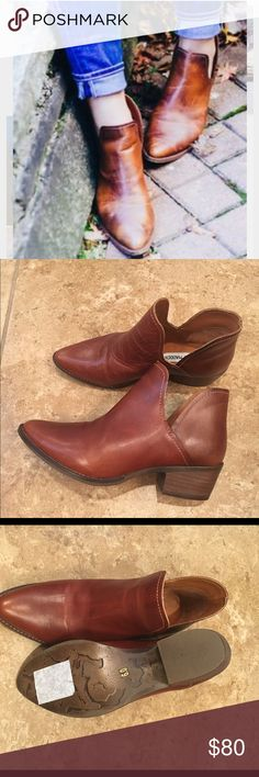"Steve Madden Austin Cognac, low-cut distressed leather, size 6, side cut-outs, burnished leather, contrast top sticking, 1.5"" heel, slip-on style, slight scratch on right toe area but it looks fine bc the leather is distressed, no trades Steve Madden Shoes Ankle Boots & Booties"