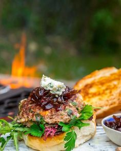 Ostrich Burgers with Gorgonzola and Sticky Red Onions - Sarah Graham Food Ostrich Meat, Yummy Eats, Yummy Food, South African Recipes, Ethnic Recipes, Graham Recipe, Meat Recipes, Healthy Recipes, Recipes