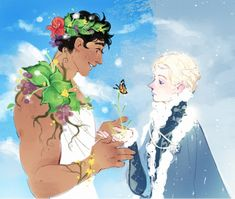 the prince of summer and the prince of winter, and spring where they meet - Damen & Laurent from Captive Prince