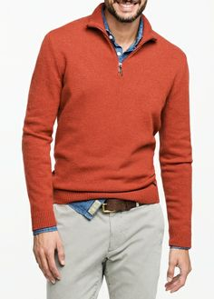Wool-blend sweater from the Blacksmith casual collection. Stand collar with zip fastening, long sleeves, contrast suede elbow patches and ribbed edges. Cardigan Fashion, Mens Sweater Outfits, Men Sweater, Smart Casual Men, Business Casual Men, Mode Masculine, Preppy Mens Fashion, Men's Fashion, Men's Wardrobe